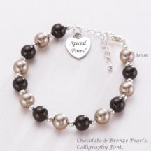 Ladies Pearl Bracelet with Engraving on Charm.